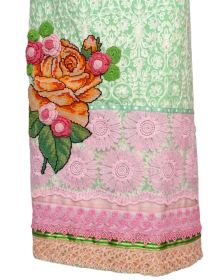 Green Embroidered Thai Material with Rose Bunch