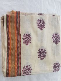Women's South Cotton Dupatta Off-White With Brown Butti Print With Border.