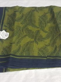 Cotton Dupatta Green Leaf Print And Blue Border