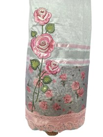 Silky Grey with Shiny Pink Roses