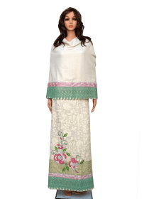 Cream Full Embroidered Linen Thai Material With Heavy Work