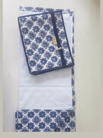 Imported Print Blue Non Quilted Masalla Pouch