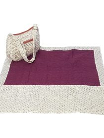 D Wine Quilted Women Masalla with Tiny Hearts White Sujni