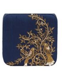 Navy blue embroidery clutch