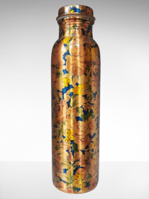 Golden & Blue printed Copper Water Bottle (900ml)