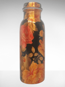 Classic Black with Rose printed Copper Water Bottle (500ml)