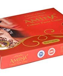 Amina Henna Instant Tatto Red Outline Mehendi/No Chemicals Dyes – Color Paste Cone (Red, 12 Piece) (Red)