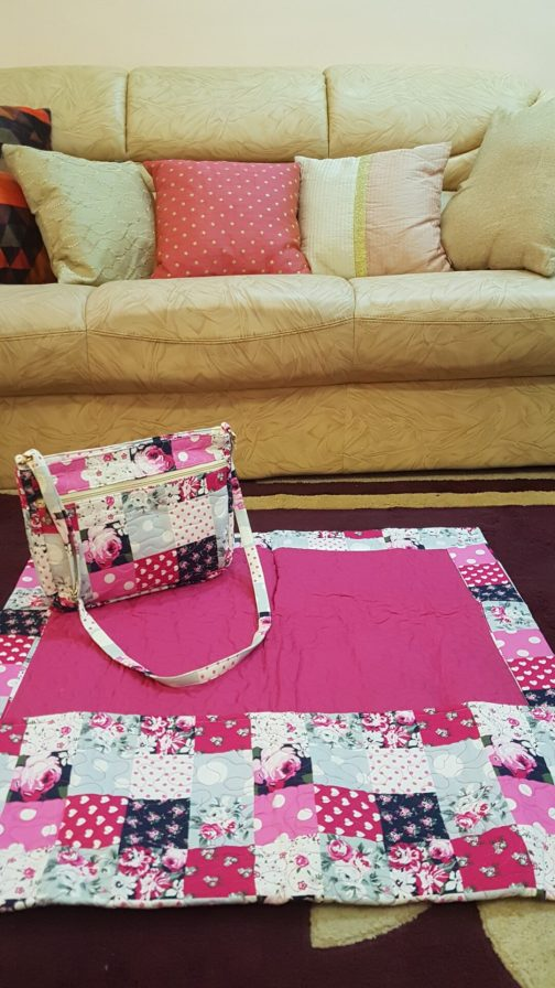 dark pink quilted ladies masalla with sling bag