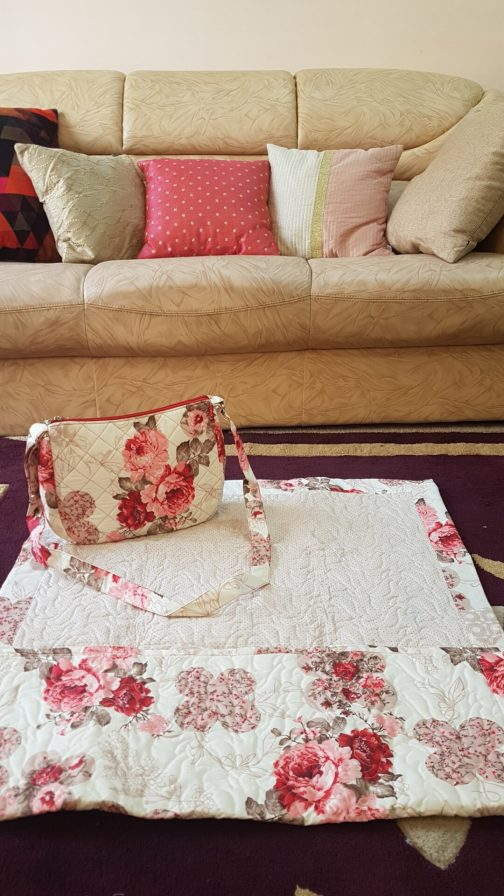 Beige quilted ladies masalla with sling bag