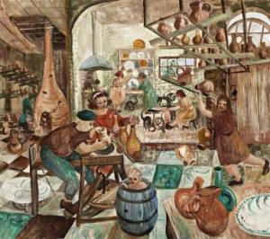 Lot 10, John Perceval, The Pottery, 1948, est. $350,000-$450,000. Go Potty