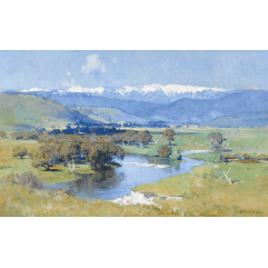 Lot 27 - Arthur Streeton, The Murray and the Mountain (1930), est. $150,000-200,000. Streeton is the Australian Landscape