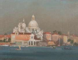 Lot 307 - Harley Griffiths, Venice, 1955, est. $1,200-1,800. Most serene