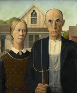"The Year of Pitchfork Politics - Grant Wood ""American Gothic"""