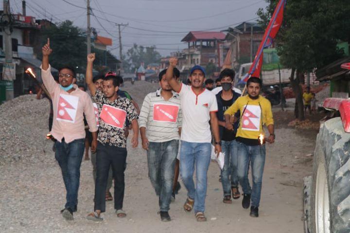 नेपाली भूमि अतिक्रमण को बिरोधमा आज पनि माडीमा प्रदर्सन