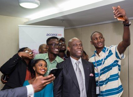 Access Bank GMD selfie with Unilag Delegates at the event