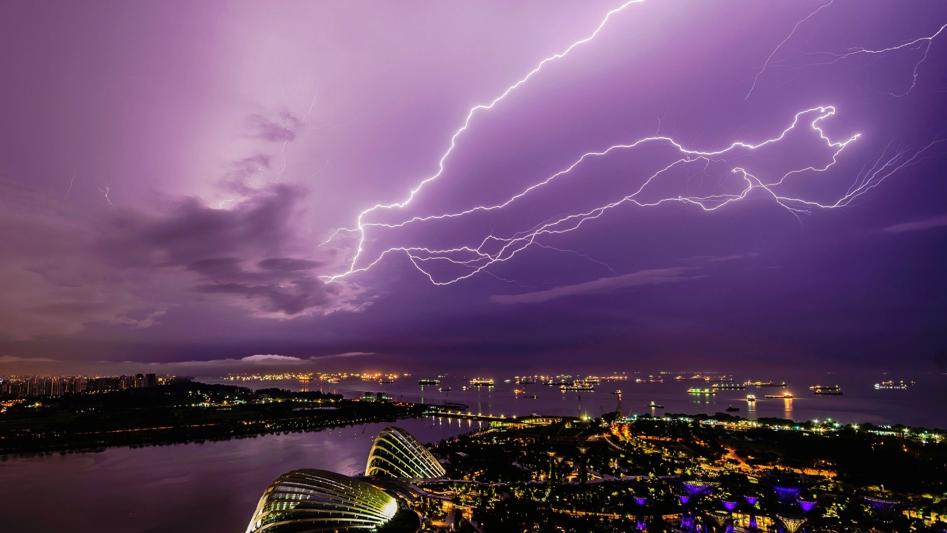 City View Wallpaper Hd Singapore City Night Thunderstorm Wallpapers 1920x1080