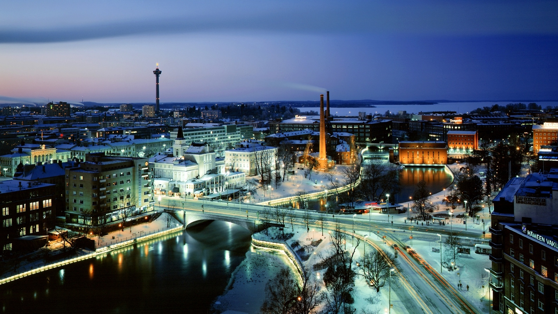 Night View Hd Wallpaper Tampere Finland Wallpapers 1920x1080 786532