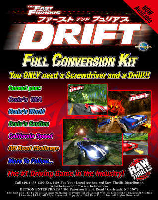 Fast and Furious Drift conversion kit brochure for cruisin, cruisin exotica