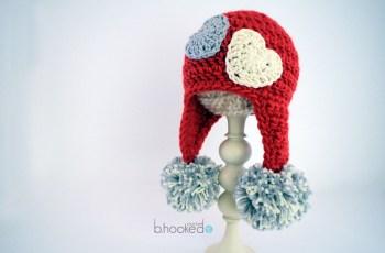 crochet sweet heart hat
