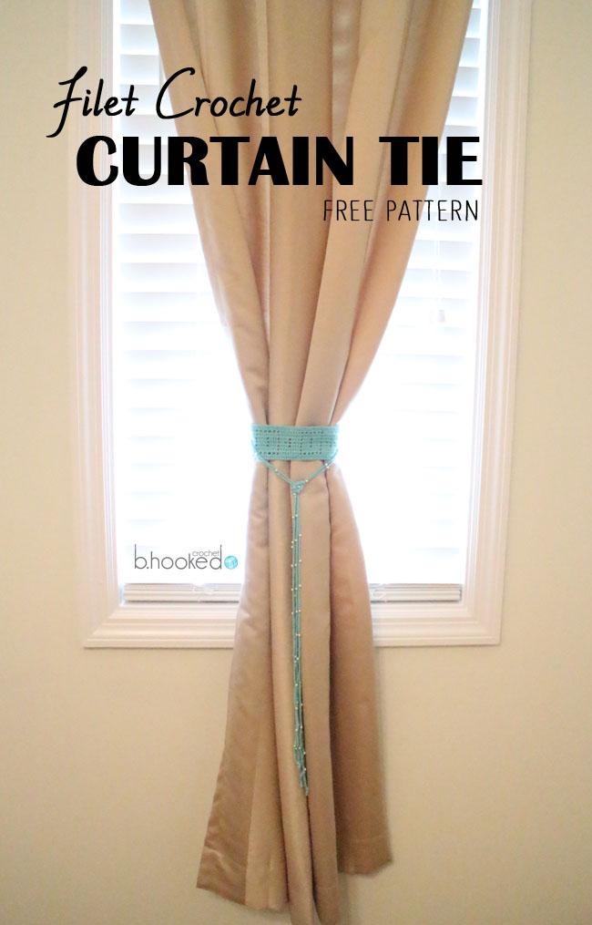 Filet Crochet Curtain Tie Pattern