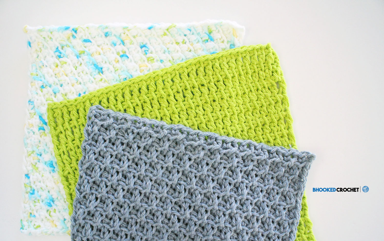 Clover Tunisian Wash Cloth Series: Pattern 3 - B.hooked Crochet ...