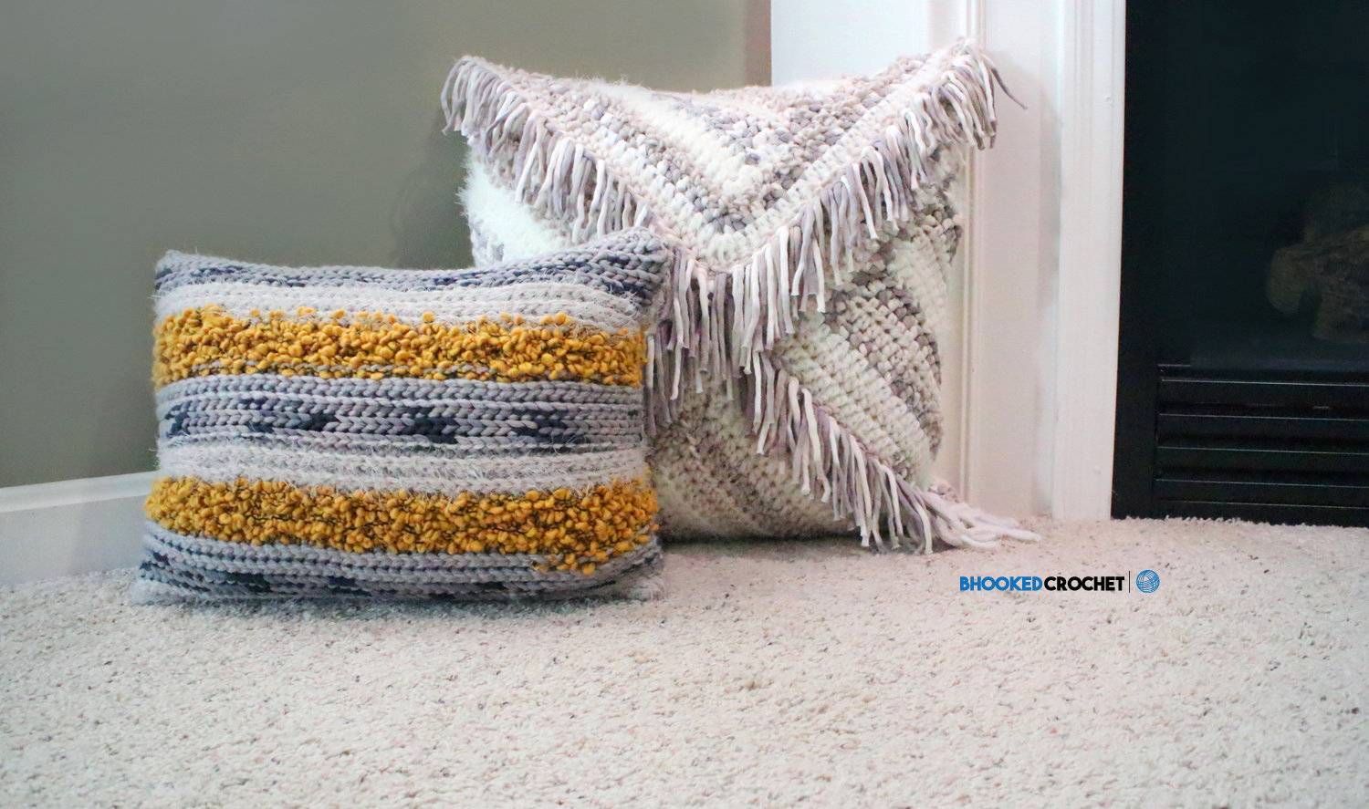 B Hooked Crochet Pillow