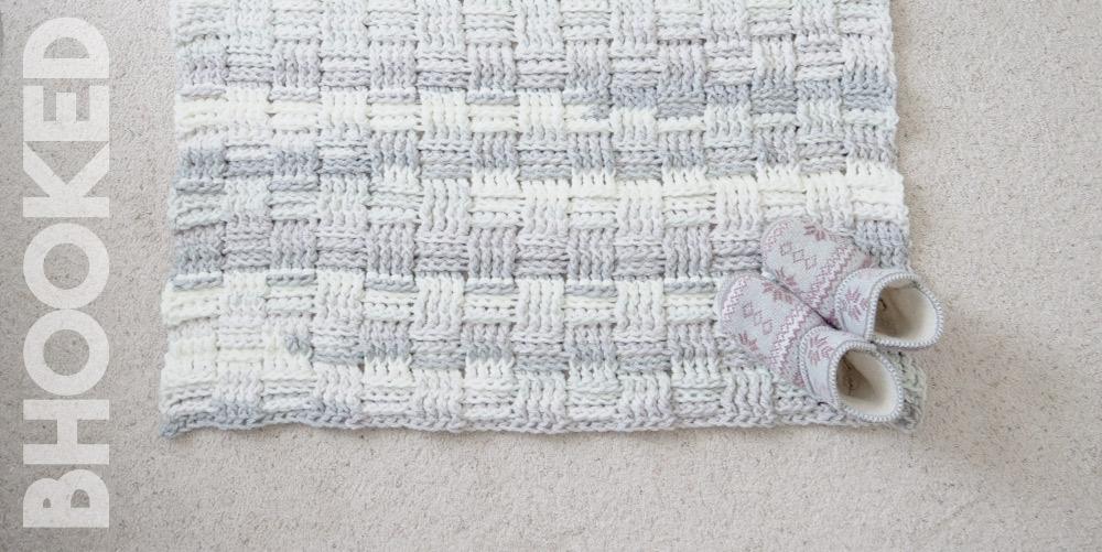 Chunky Basket Weave Crochet Rug Bhooked Crochet Knitting