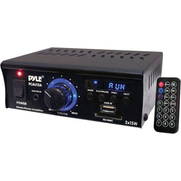 Pyle Pro Pcau15a Mini 2x15 Watt Stereo Amplifier &