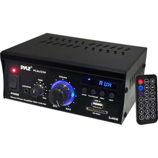 Pyle Pro Pcau25a 2-channel 80w Stereo Power Amplifier
