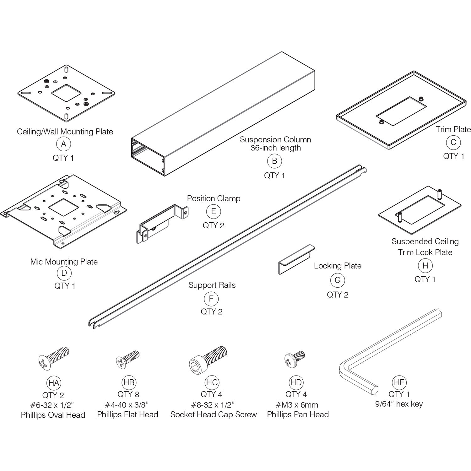 Clearone Ceiling Mount Kit With 36 Suspension