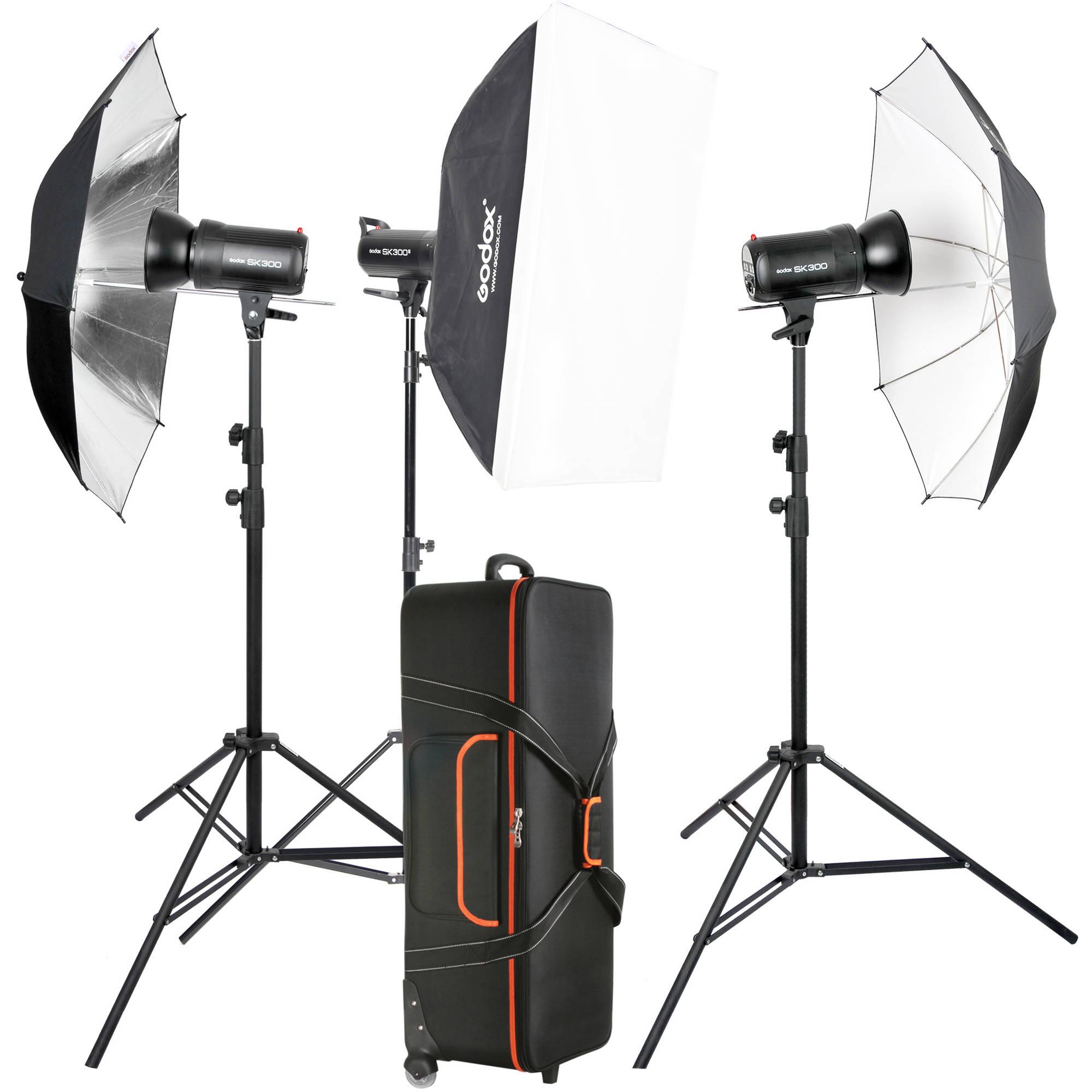 godox sk300ii 3 light studio flash kit