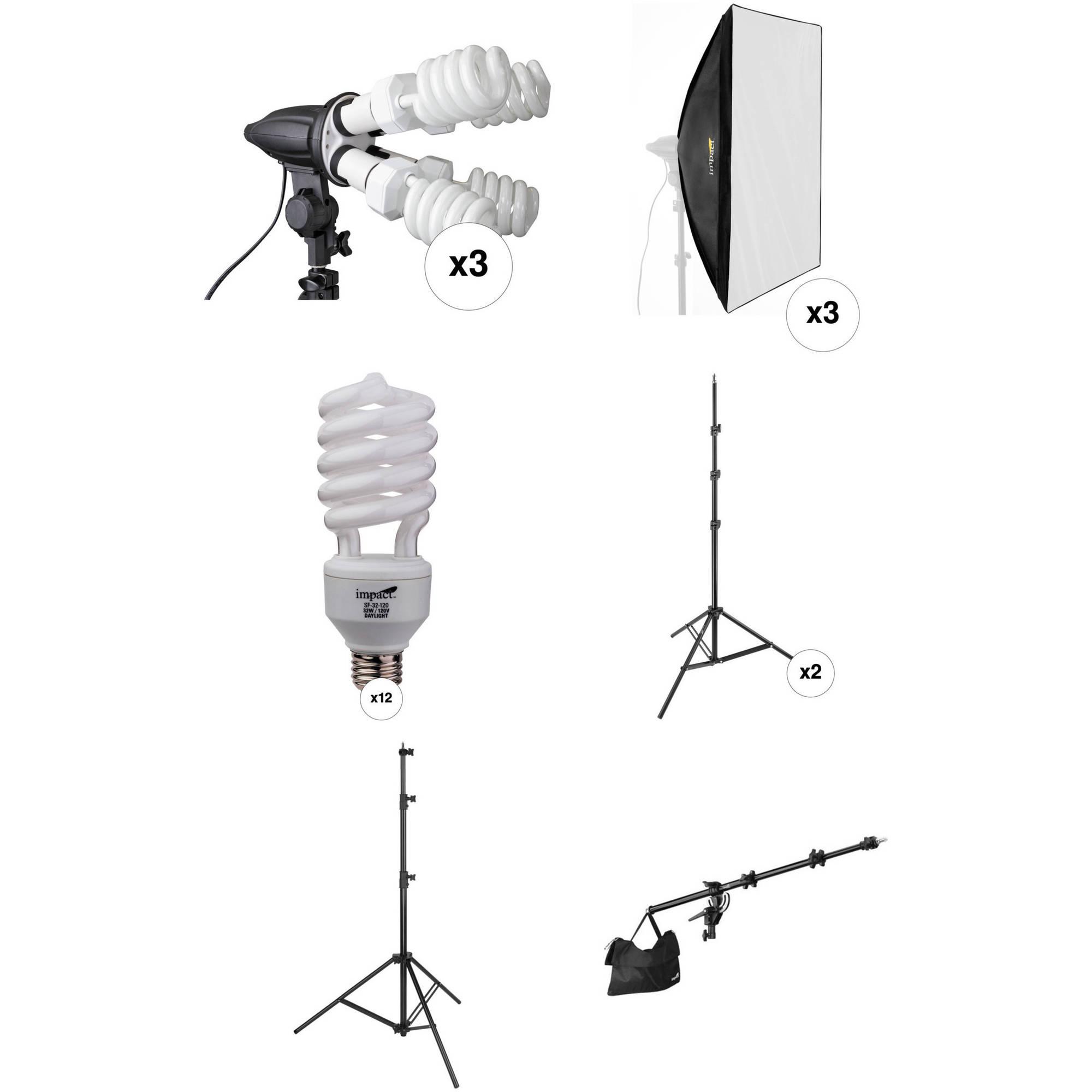 Impact 3 Head Fluorescent Lighting Kit With Boom Arm Kit B Amp H