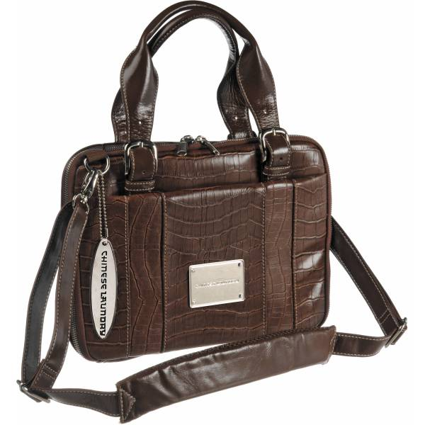 Chinese Laundry Croc Netbook Bag Brown 51687-br &