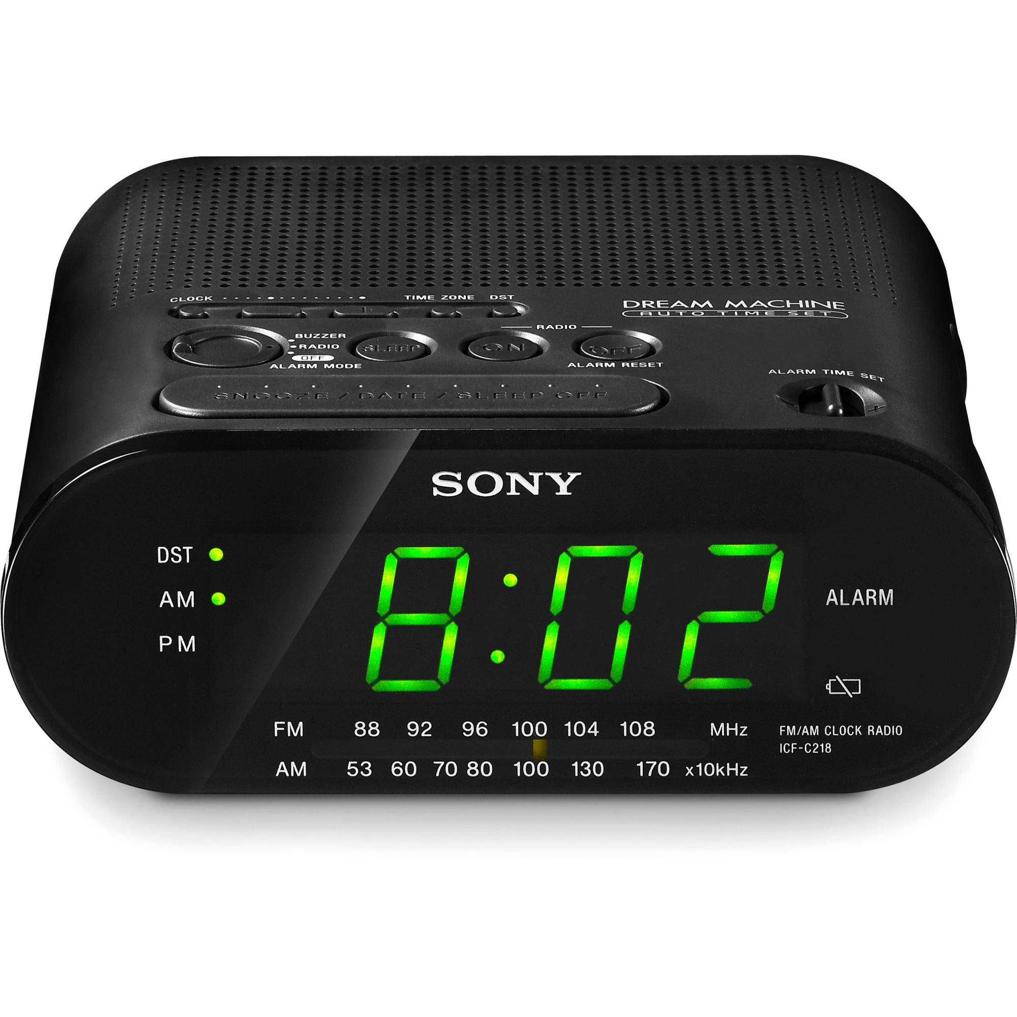 hight resolution of sony icf c218 am fm clock radio black