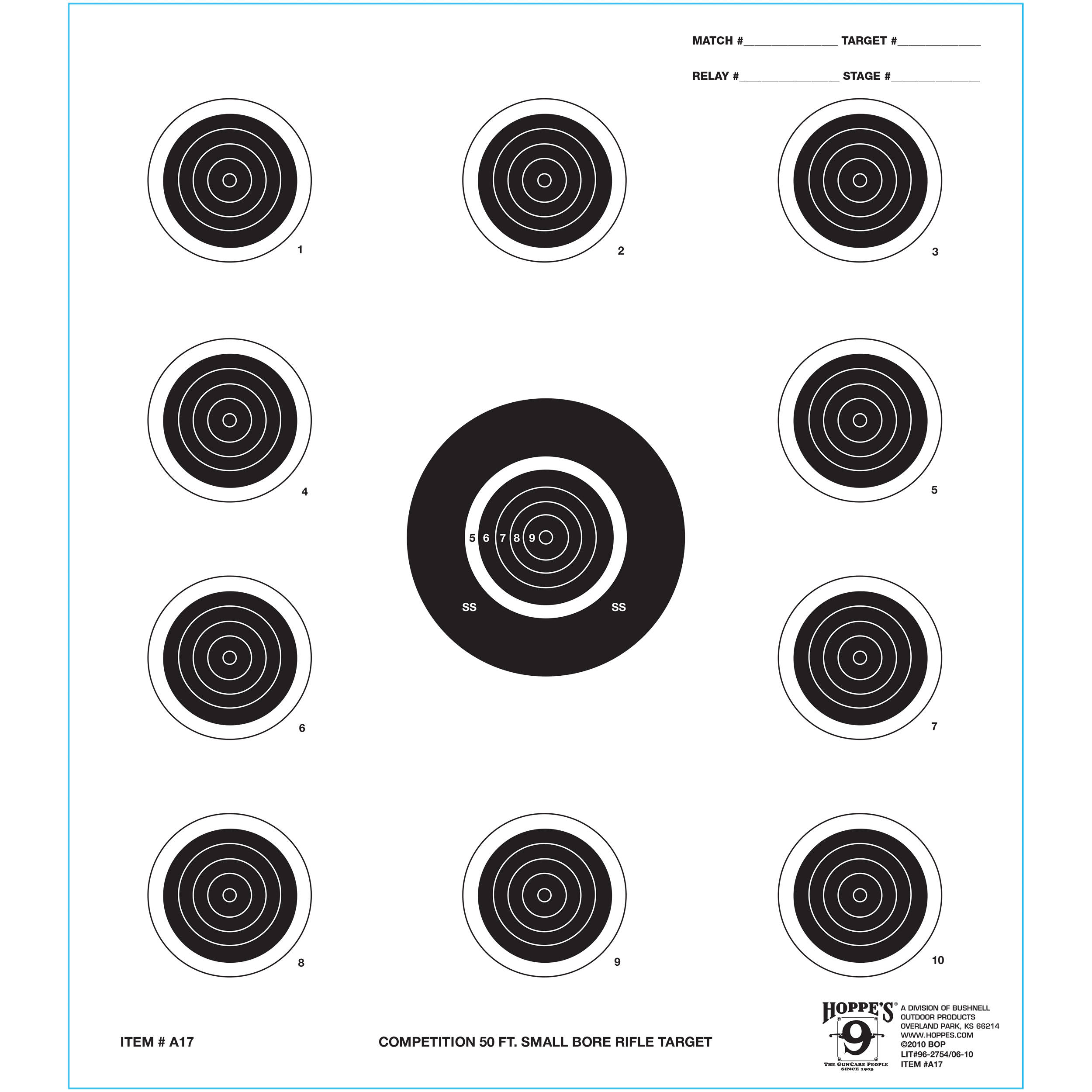 Hoppes 7x9 Five Bull Tag Competition Rifle Targets A5