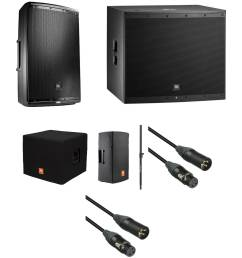jbl eon powered speaker and subwoofer kit with covers speaker pole and cables [ 2500 x 2500 Pixel ]