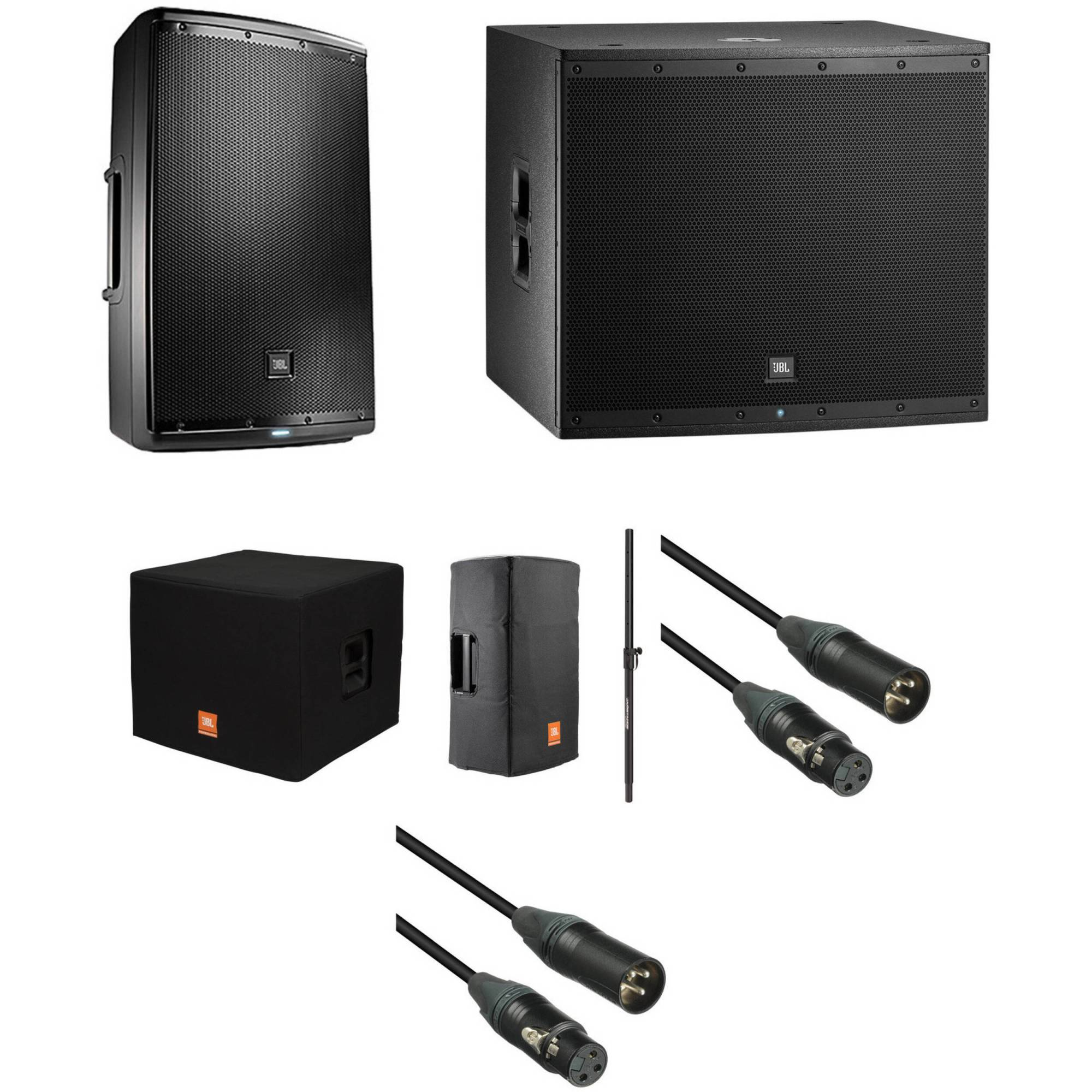 hight resolution of jbl eon powered speaker and subwoofer kit with covers speaker pole and cables
