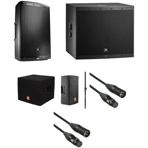 small resolution of jbl eon powered speaker and subwoofer kit with covers speaker pole and cables