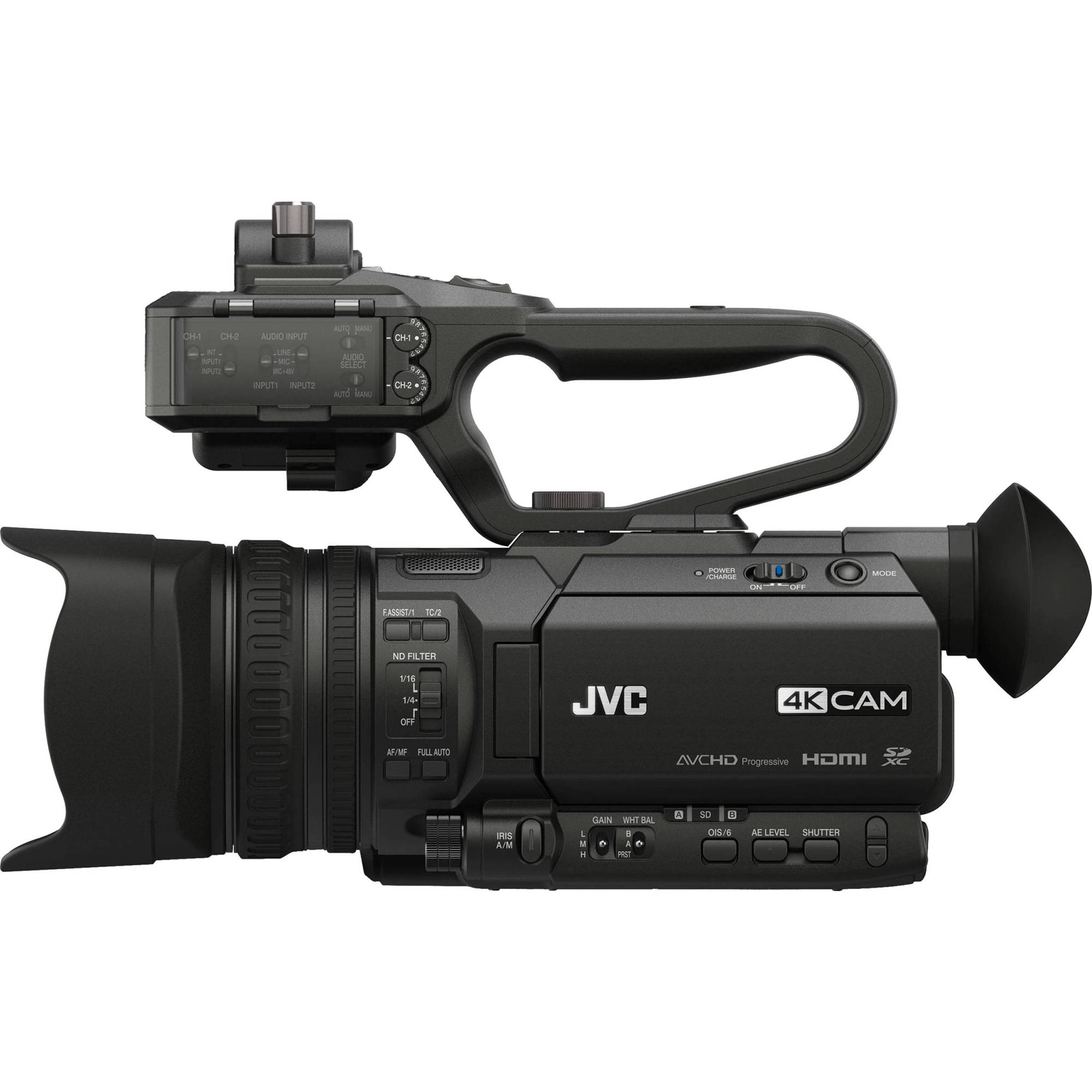hight resolution of jvc gy hm170ua 4kcam compact professional camcorder with top handle audio unit