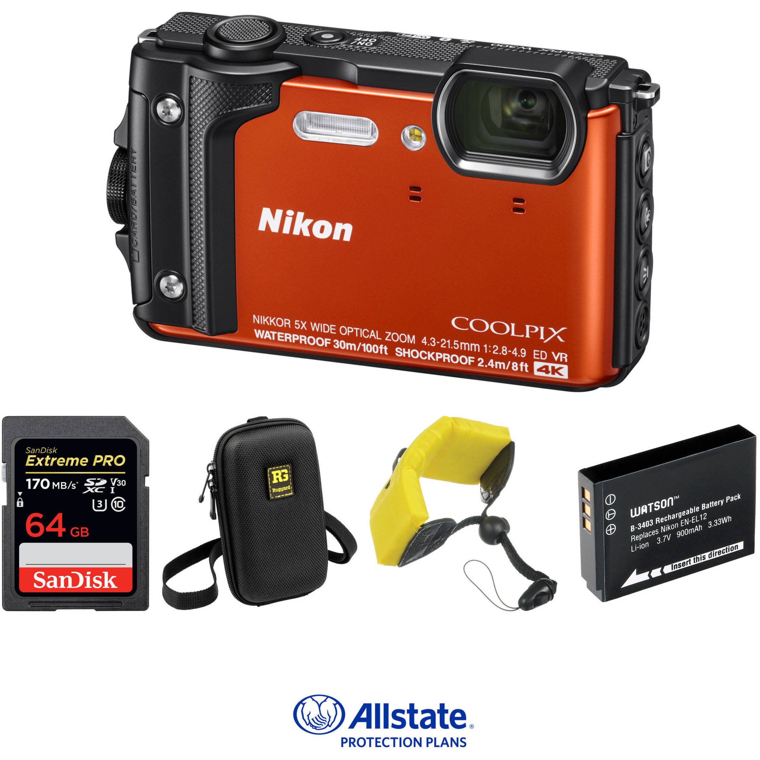 Nikon COOLPIX W300 Digital Camera Deluxe Kit (Orange) B&H Photo