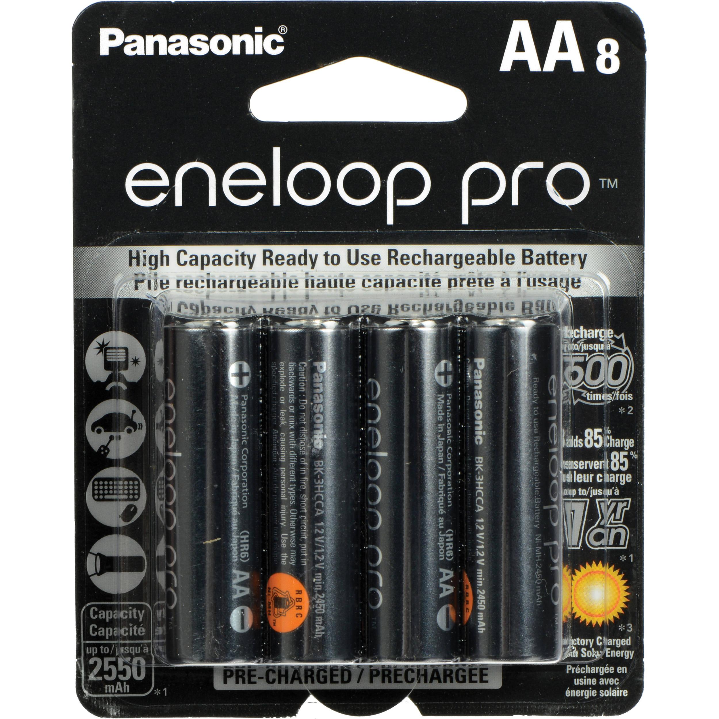 Panasonic eneloop pro AA Rechargeable NiMH Batteries BK-3HCCA8BA