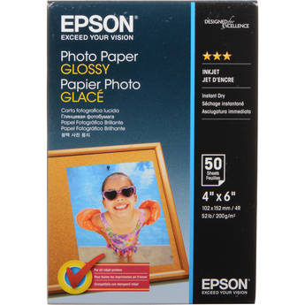 "Epson Glossy Photo Paper Borderless - 4x6"" - 50 Sheets"