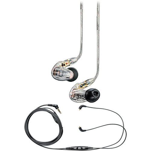 Shure SE315 Sound-Isolating In-Ear Stereo Earphones (Clear