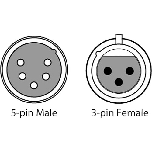 CHAUVET DJ 3-Pin Female to 5-Pin Male DMX Cable DMX3F5M B&H