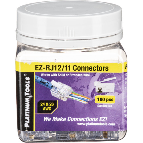 Platinum Tools Ez Rj12 11 Connector With Standard Tab J