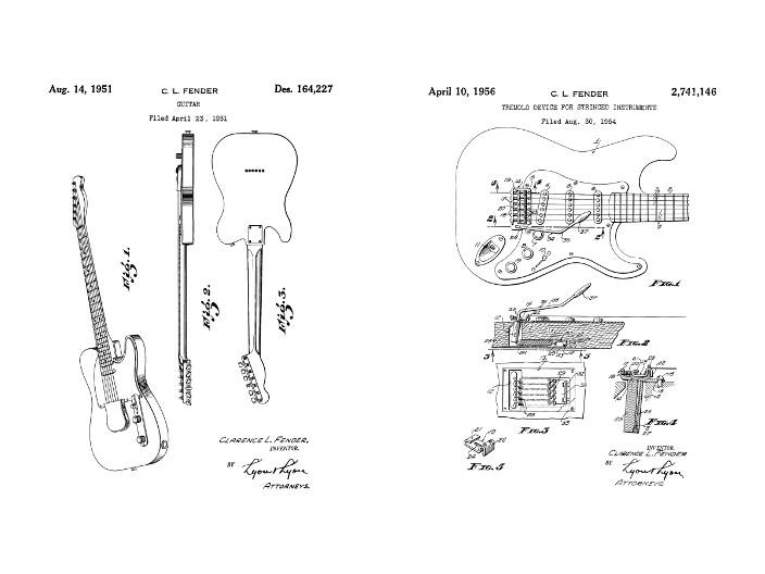 Fender Guitar Patent Art Duo