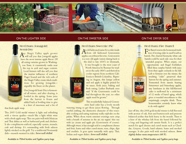 Red Barn Cider brochure (interior)