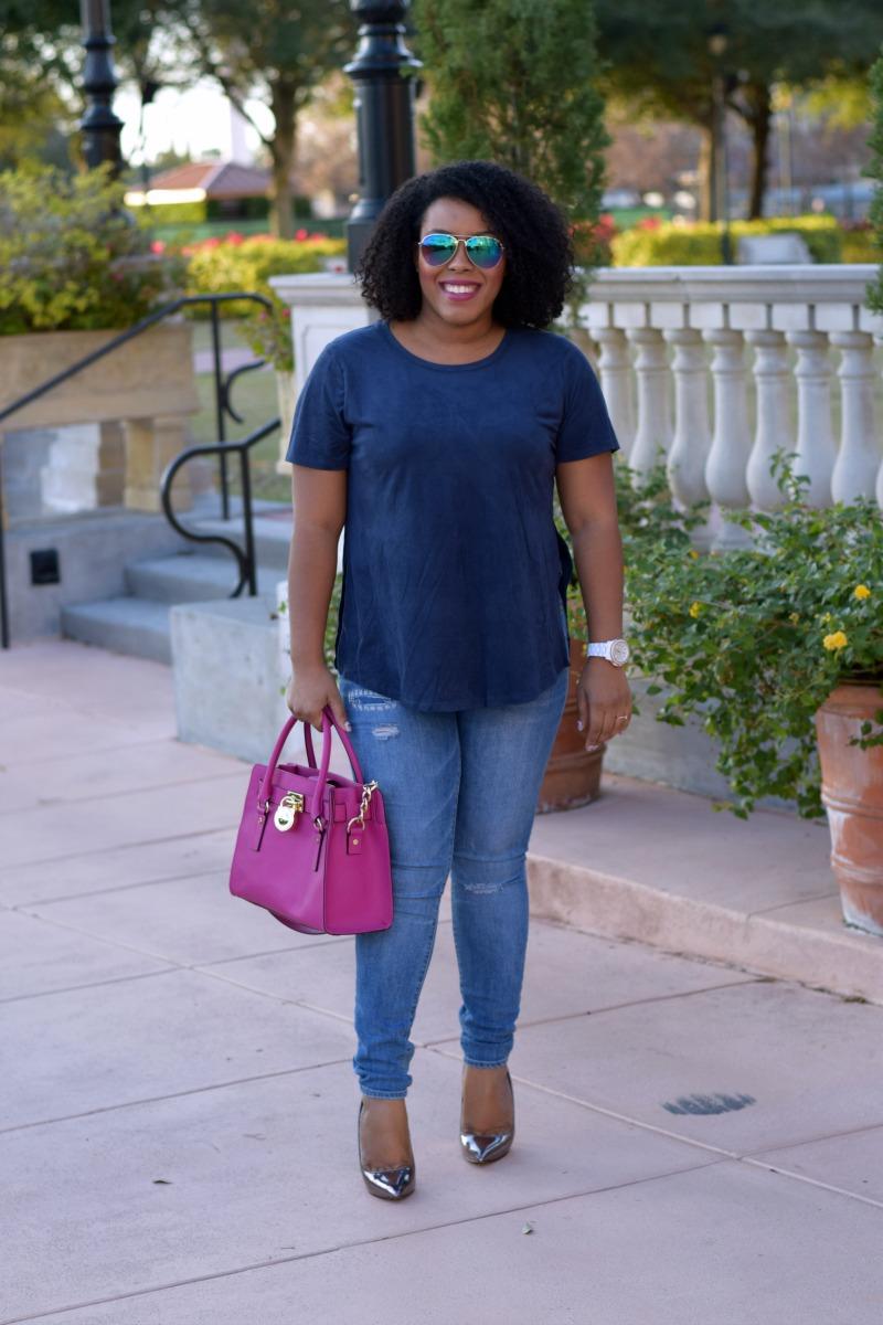 Navy Suede | Elle B Styles | Bianca Dottin | Orlando Fashion Blogger
