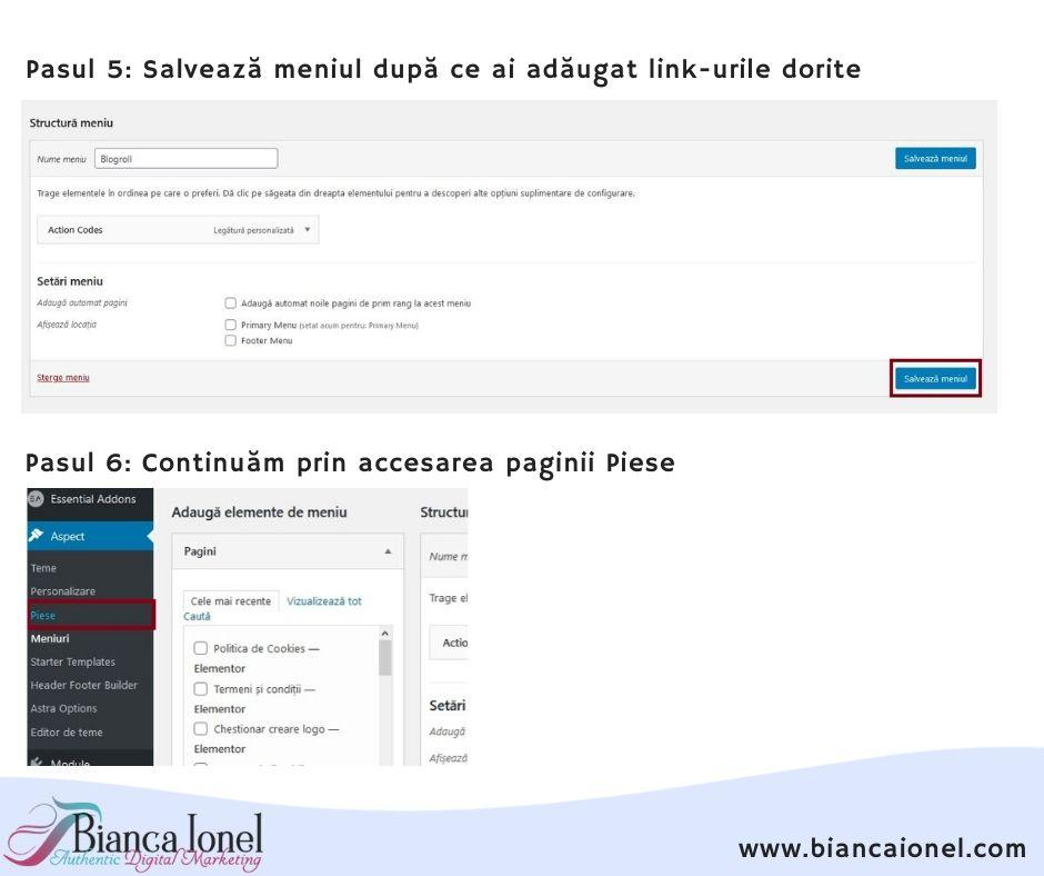 Pasul 3 Blogroll in WordPress tutorial 2020 Bianca Ionel