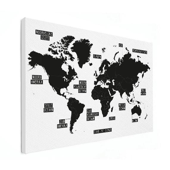 wereldkaart zwart wit canvas wereldkaarten.nl